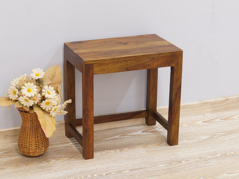 Taboret mały stolik kolonialny lite drewno palisander indyjski nowoczesny jasny brąz