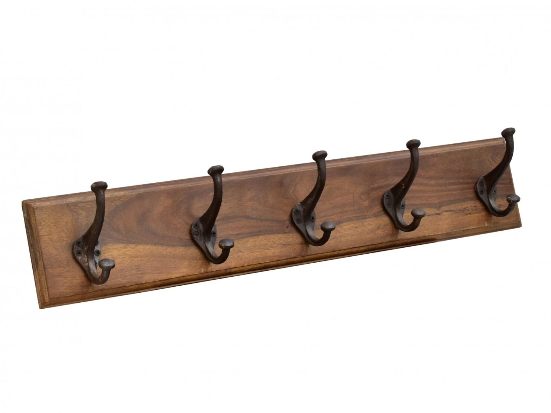Wieszak kolonialny ścienny drewno palisander indyjski na 5 haków w jasnym odcieniu brązu