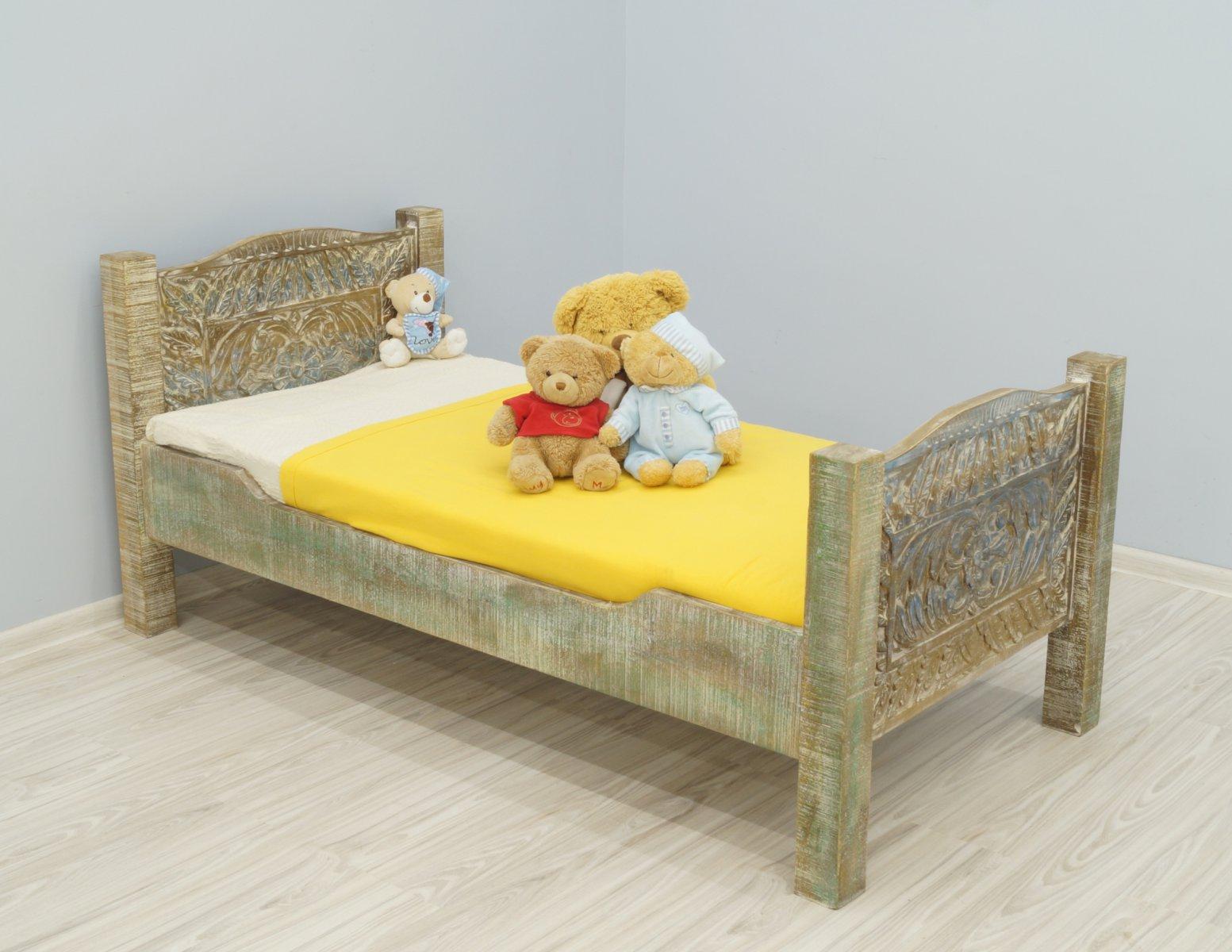 Łóżko dziecięce kolonialne lite drewno mango styl Shabby Chic