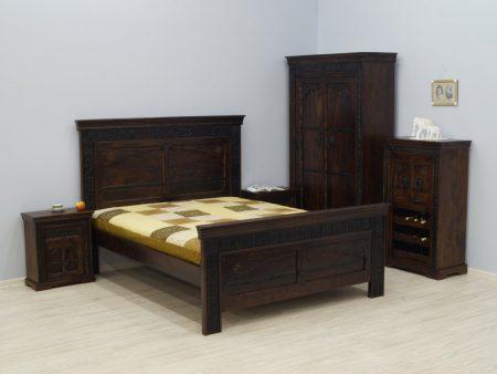 Łóżko kolonialne lite drewno akacja indyjska ręcznie rzeźbione ciemny brąz