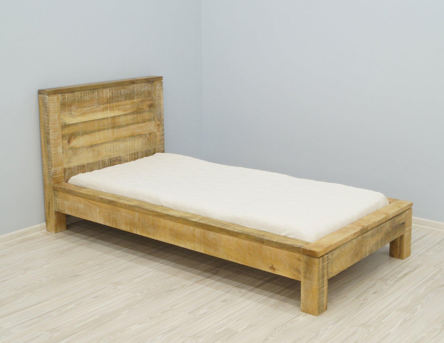 Łóżko kolonialne lite drewno mango pojedyncze styl Loft