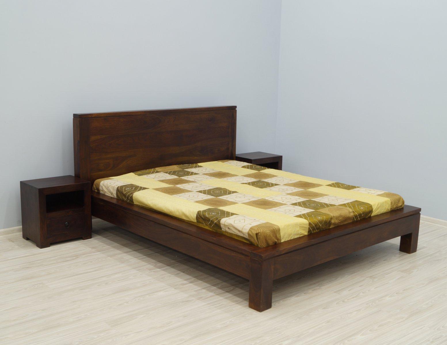 Łóżko kolonialne lite drewno palisander indyjski ciemny brąz