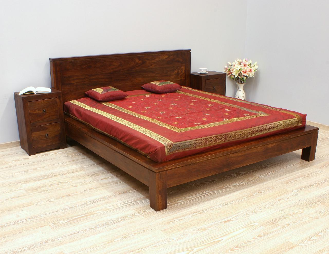 Łóżko kolonialne lite drewno palisander indyjski ciemny brąz modernistyczne