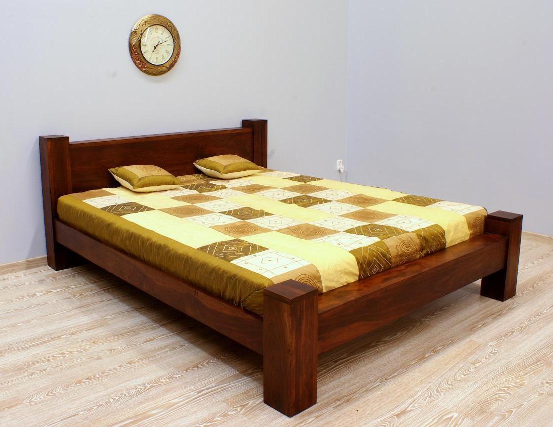 Łóżko kolonialne lite drewno palisander indyjski ciemny brąz modernistyczne masywne
