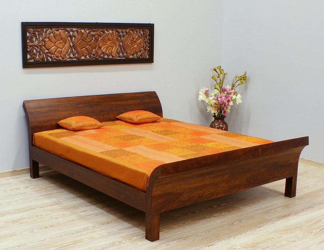 Łóżko kolonialne lite drewno palisander indyjski ciemny brąz modernistyczne unikatowe