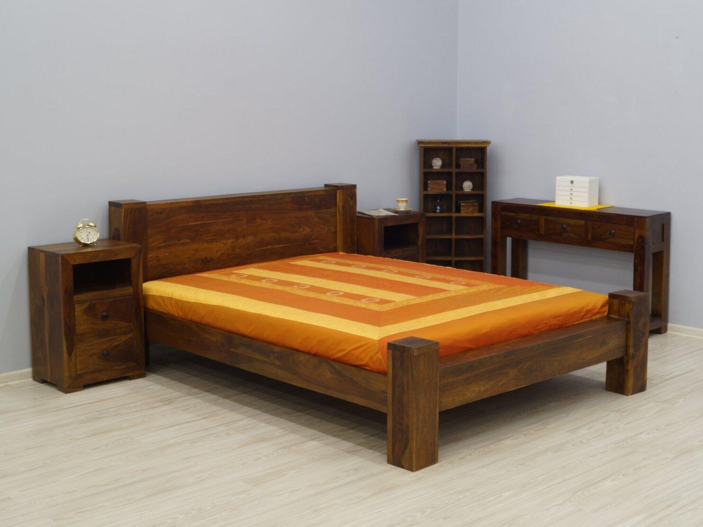 Łóżko kolonialne lite drewno palisander indyjski jasny brąz