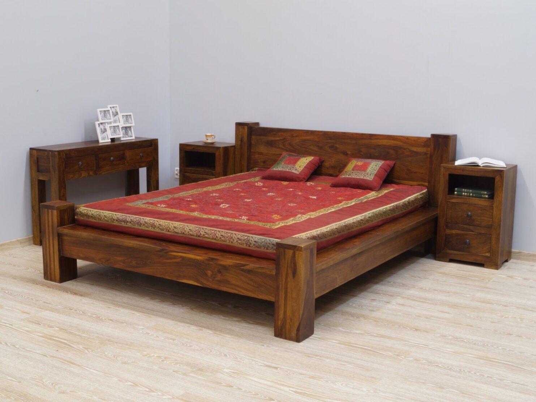 Łóżko kolonialne lite drewno palisander indyjski jasny brąz nowoczesne