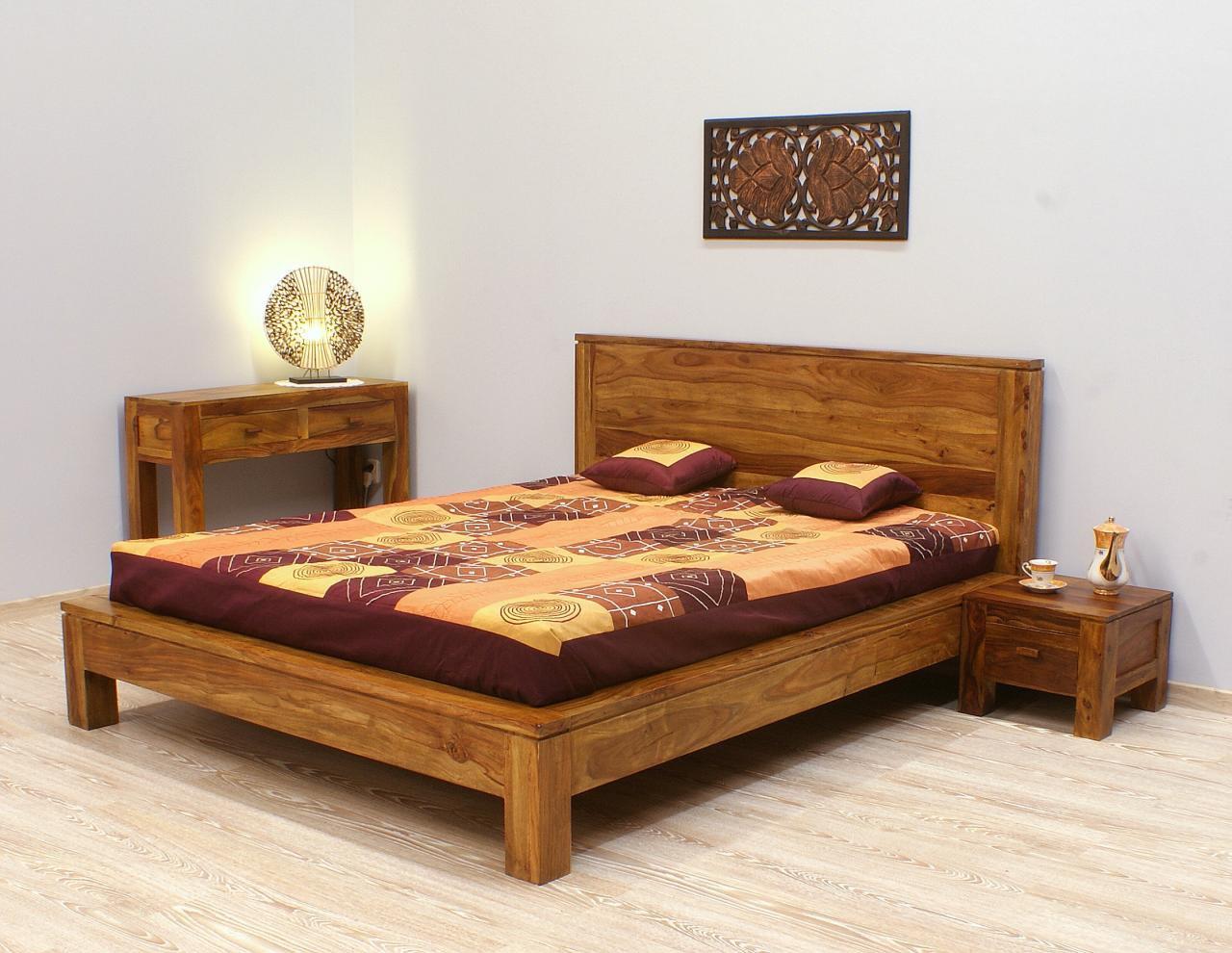 Łóżko kolonialne lite drewno palisander indyjski jasny brąz unikatowe styl nowoczesny