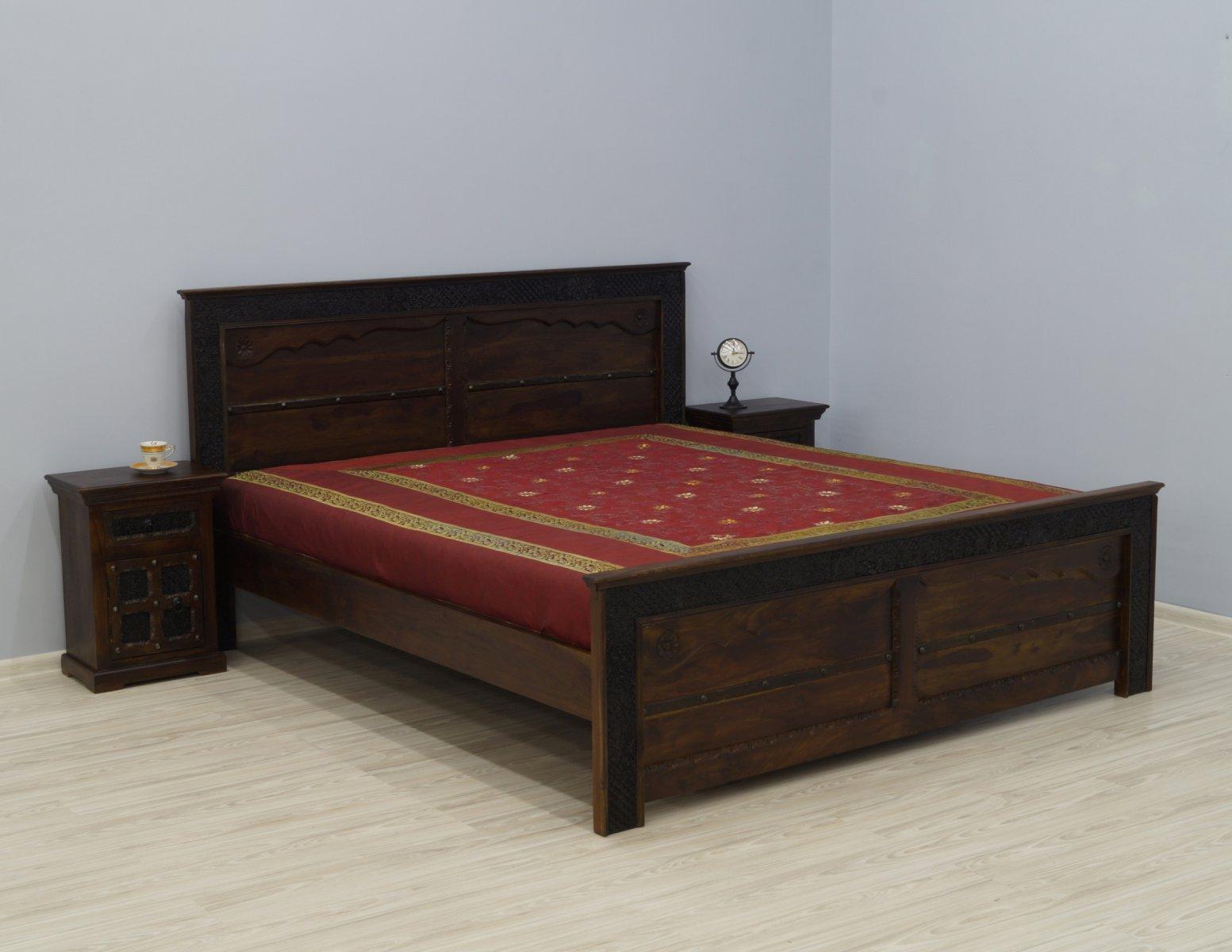 Łóżko kolonialne lite drewno palisander indyjski ręcznie rzeźbione ciemny brąz