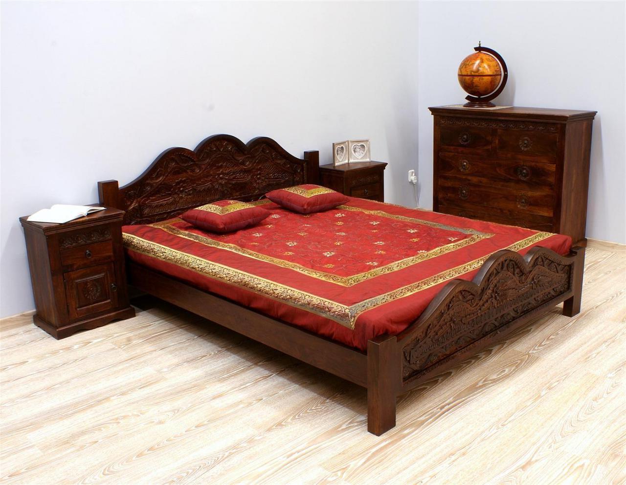 Łóżko kolonialne lite drewno palisander indyjski ręcznie rzeźbione ciemny brąz unikatowe