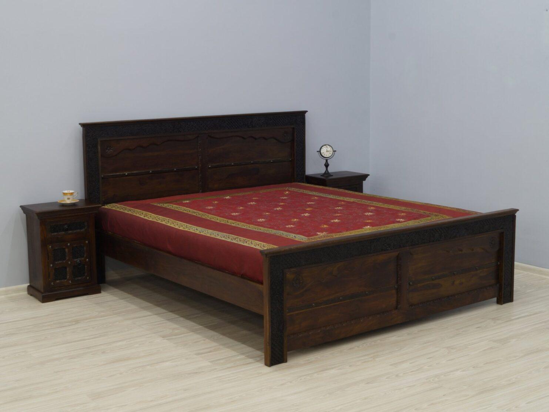Łóżko kolonialne lite drewno palisander indyjski rzeźbione ciemny brąz