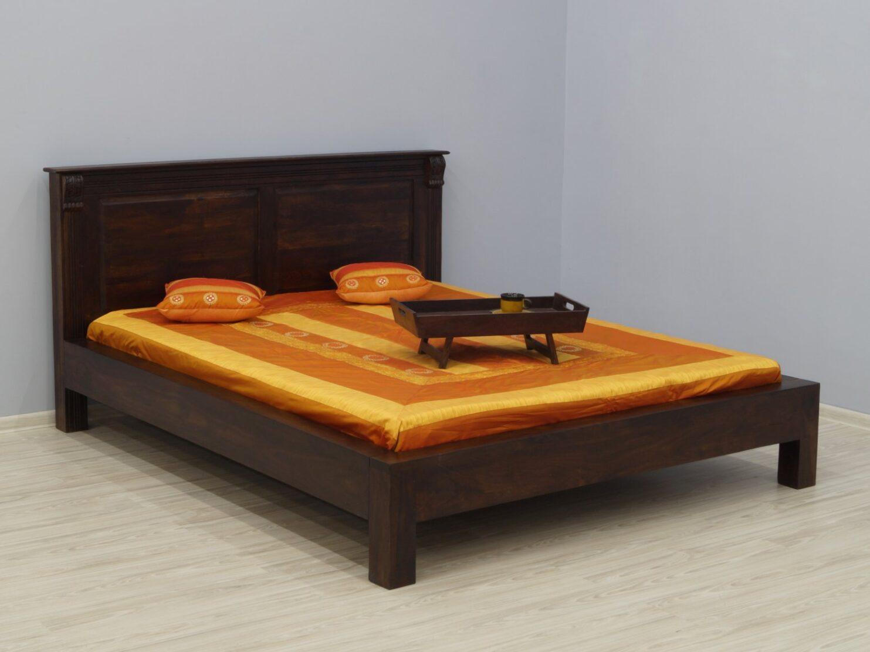 Łóżko kolonialne lite drewno palisander indyjski rzeźbione masywne ciemny brąz