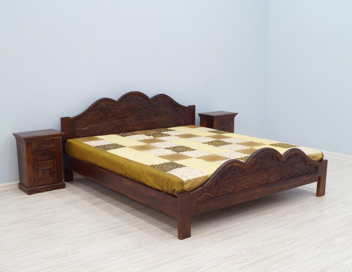 Łóżko kolonialne lite drewno palisander indyjski rzeźbione ciemny brąz unikatowe