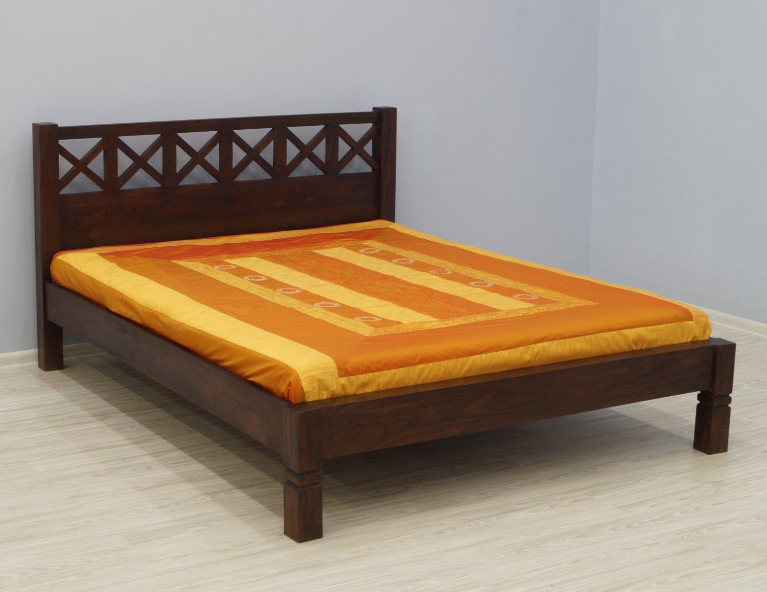 Łóżko kolonialne lite drewno palisander indyjski zdobione ciemny brąz