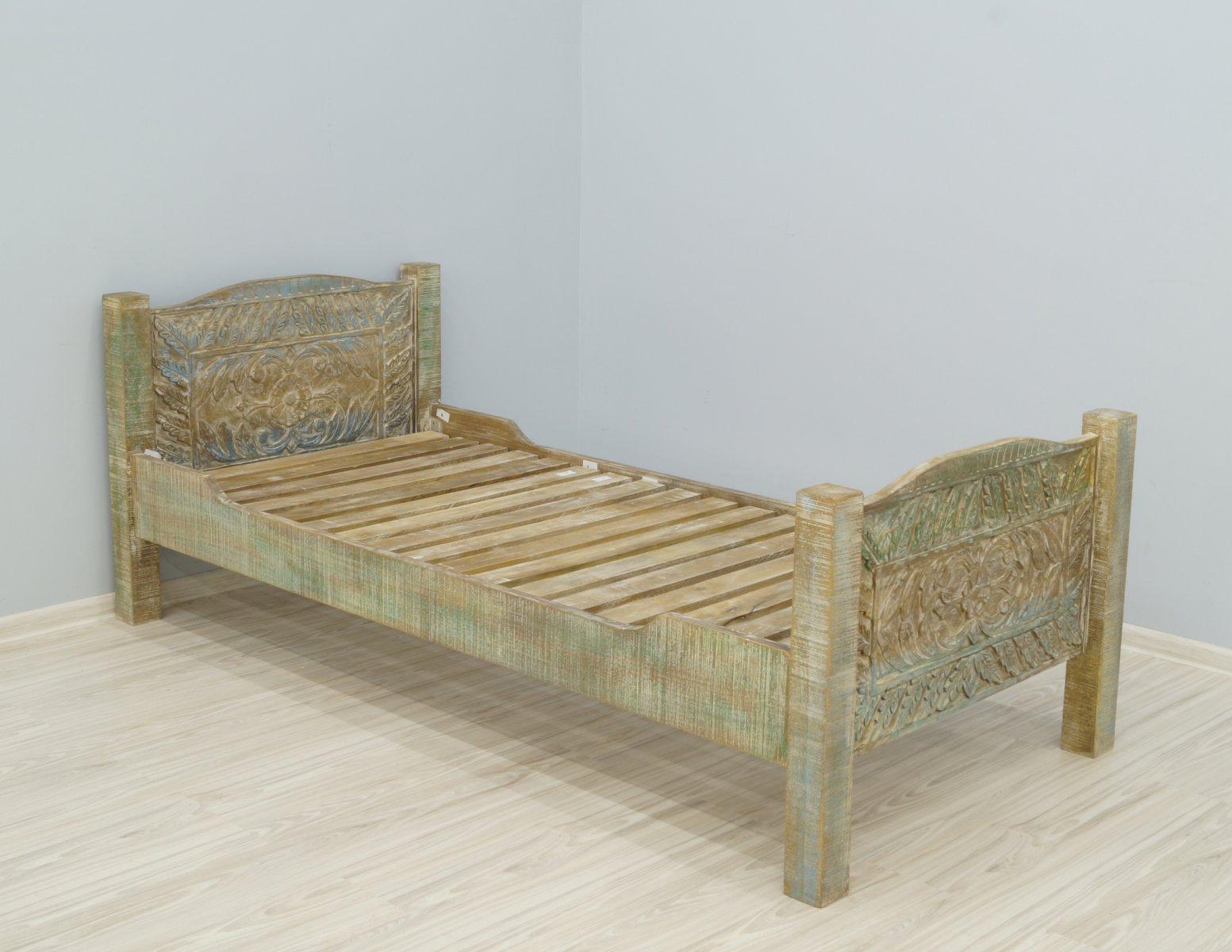 Łóżko pojedyncze kolonialne lite drewno mango styl Shabby Chic