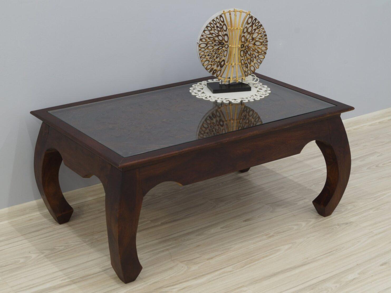 Ława kolonialna lite drewno palisander indyjski gięte nogi rzeźbiona ciemny brąz