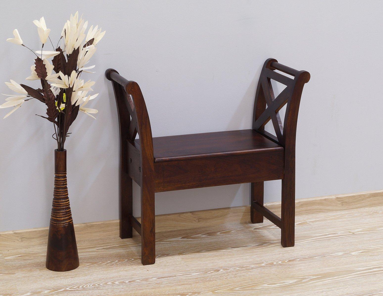 Ławka kolonialna lite drewno palisander indyjski ciemny brąz klasyczna