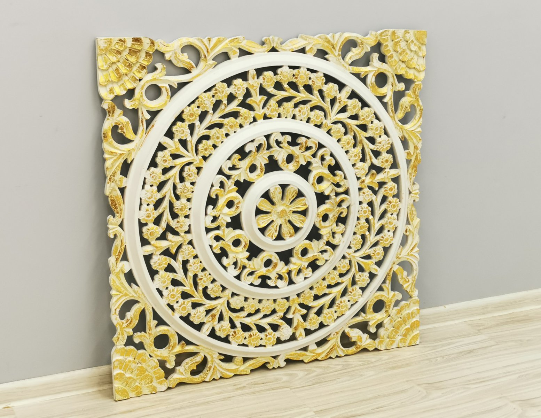 Panel ścienny dekoracyjny wykonany ręcznie biało-złoty kwadratowy