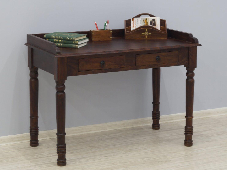 Biurko kolonialne sekretarzyk lite drewno palisander indyjski ciemny brąz klasyczny styl