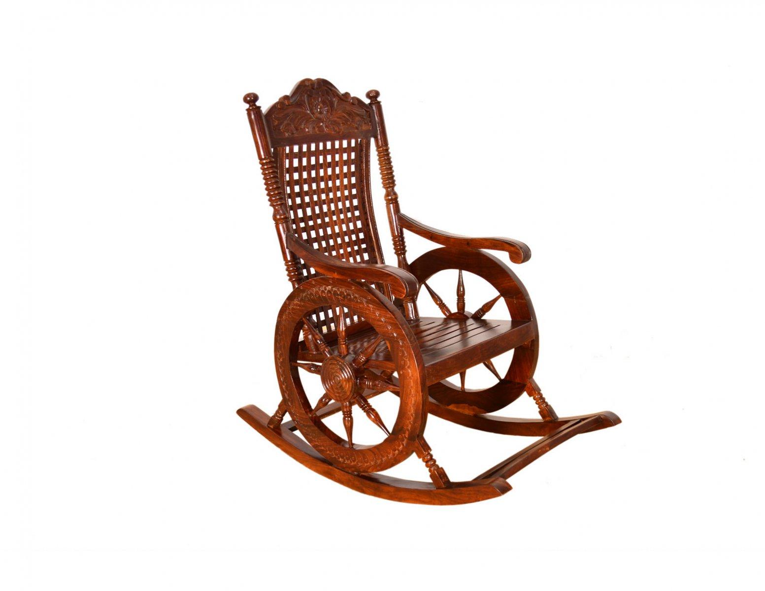 Fotel bujany kolonialny lite drewno palisander indyjski ręcznie wykonany rzeźbiony