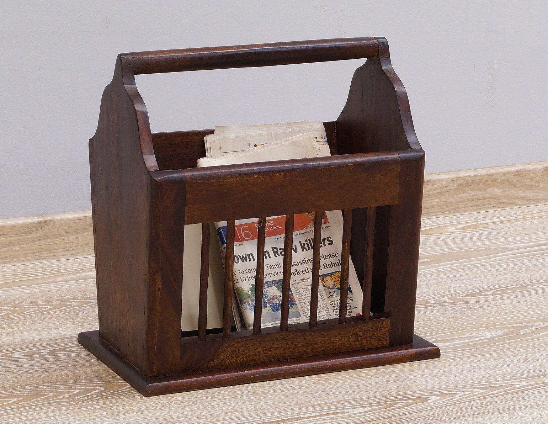 Gazetnik stojak na gazety lite drewno palisander indyjski klasyczny