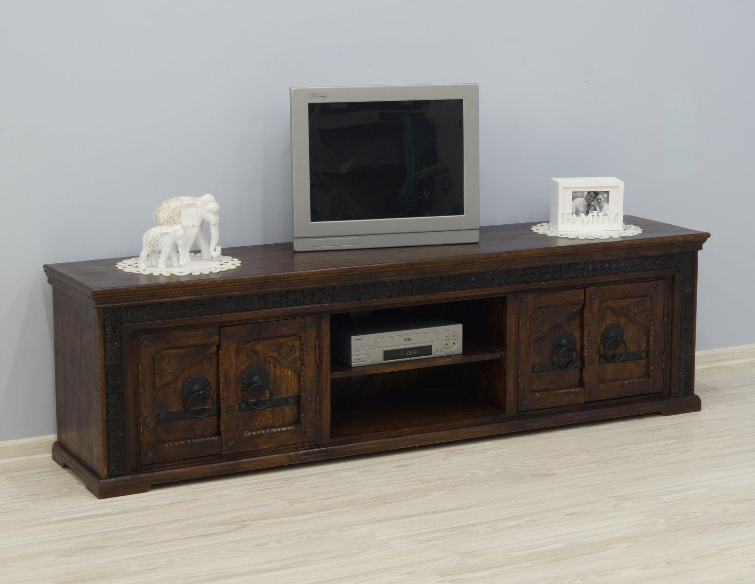 Komoda RTV szafka pod telewizor kolonialna indyjska lite drewno akacja indyjska rzeźbiona