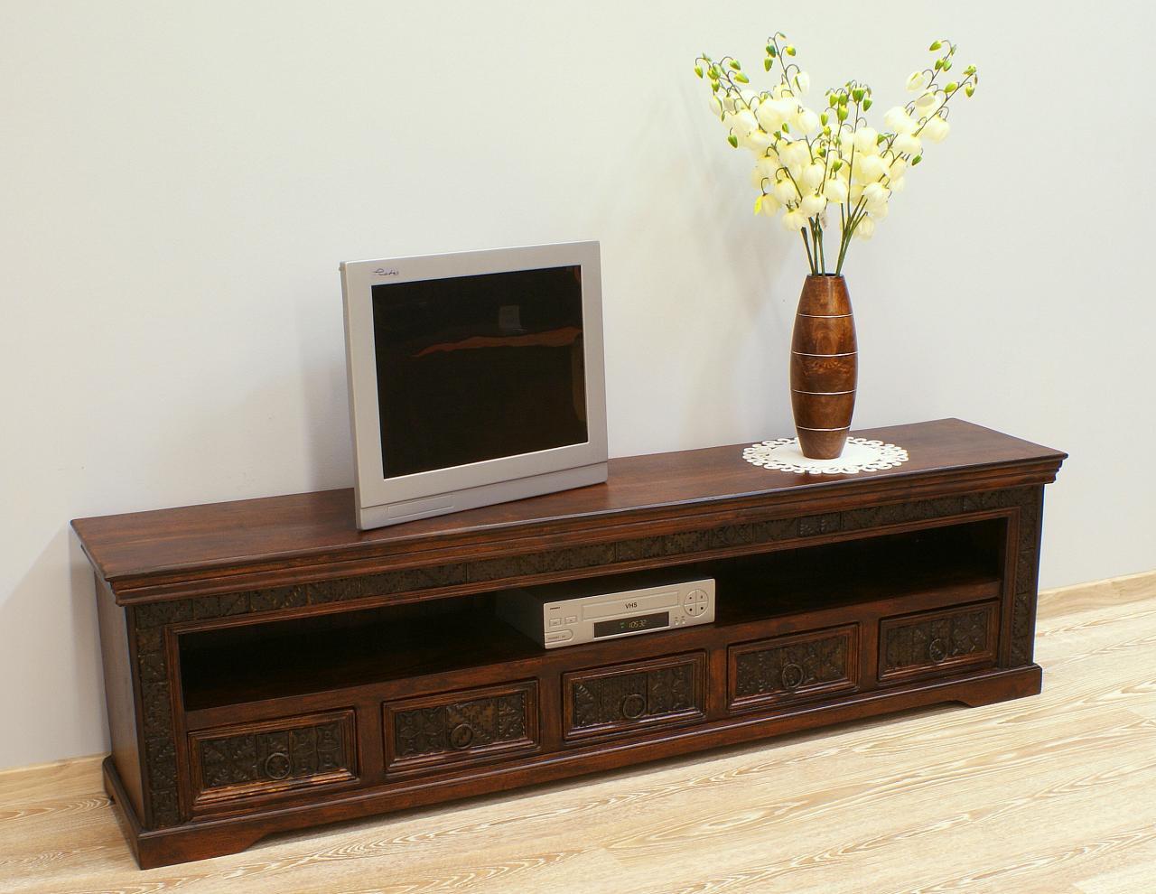 Komoda RTV szafka pod telewizor kolonialna indyjska lite drewno akacja indyjska rzeźbiona 5 szuflad