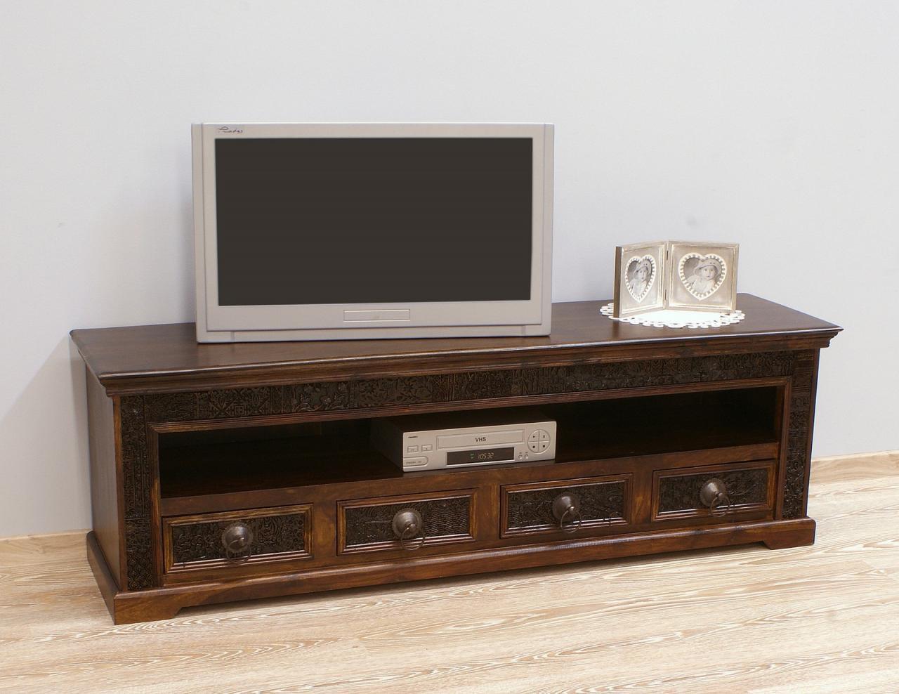 Komoda RTV szafka pod telewizor kolonialna lite drewno palisander indyjski ręcznie rzeźbiona