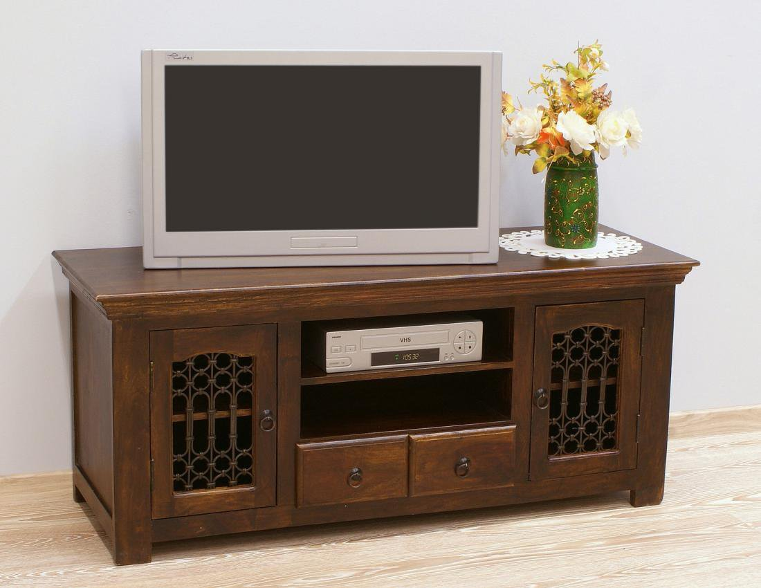 Komoda RTV szafka pod telewizor lite drewno palisander indyjski metaloplastyka