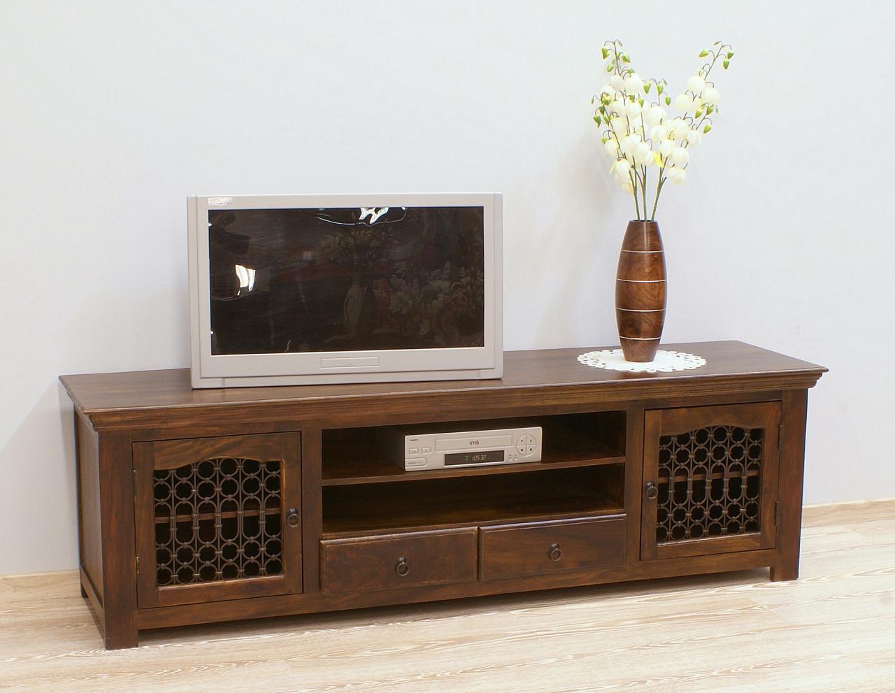 Komoda RTV szafka pod telewizor z szufladkami lite drewno palisander indyjski metaloplastyka