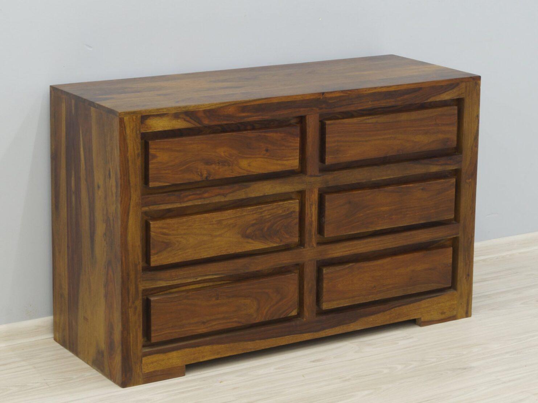 Komoda kolonialna lite drewno palisander indyjski z szufladami jasny brąz nowoczesna