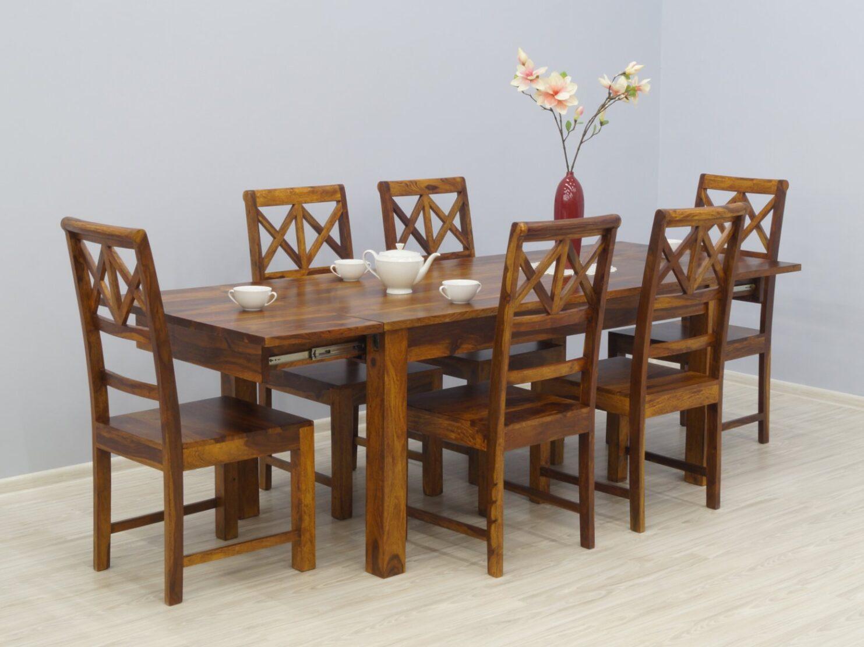 Komplet obiadowy indyjski stół rozkładany + 6 krzeseł lite drewno palisander ciepły odcień brązu