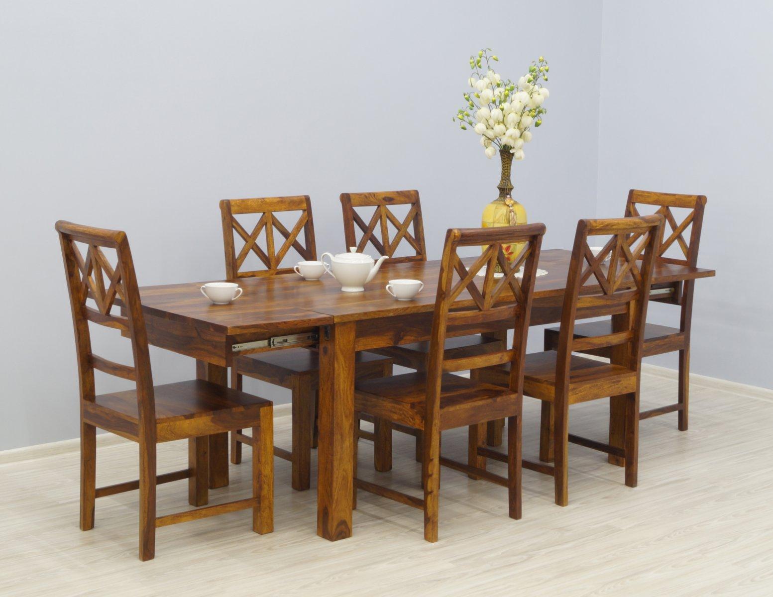 Komplet obiadowy indyjski stół rozkładany + 6 krzeseł lite drewno palisander miodowy brąz nowoczesny