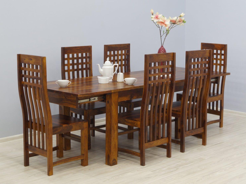 Komplet obiadowy indyjski stół rozkładany + 6 krzeseł lite drewno palisander miodowy odcień brązu