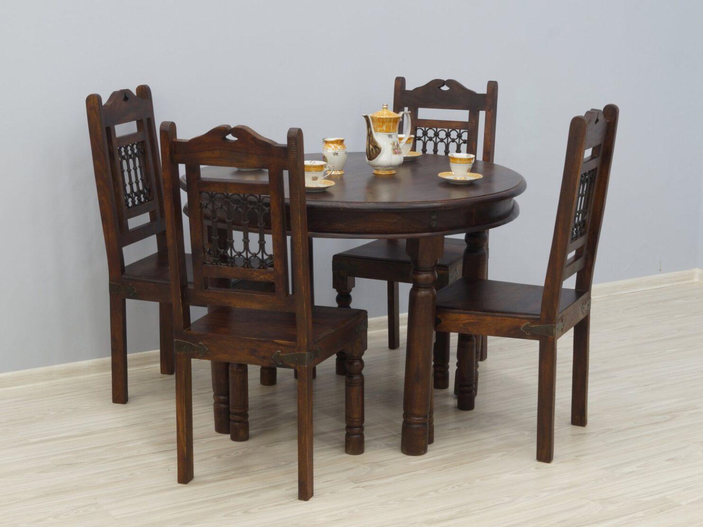 Komplet obiadowy kolonialny metaloplastyka okrągły stół + 4 krzesła lite drewno palisander indyjski
