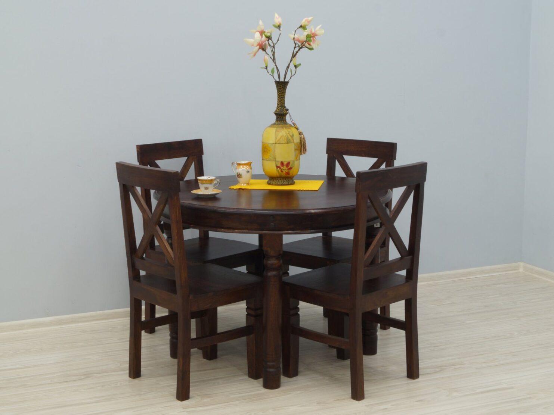 Komplet obiadowy kolonialny okrągły stół + 4 krzesła lite drewno palisander indyjski styl klasyczny