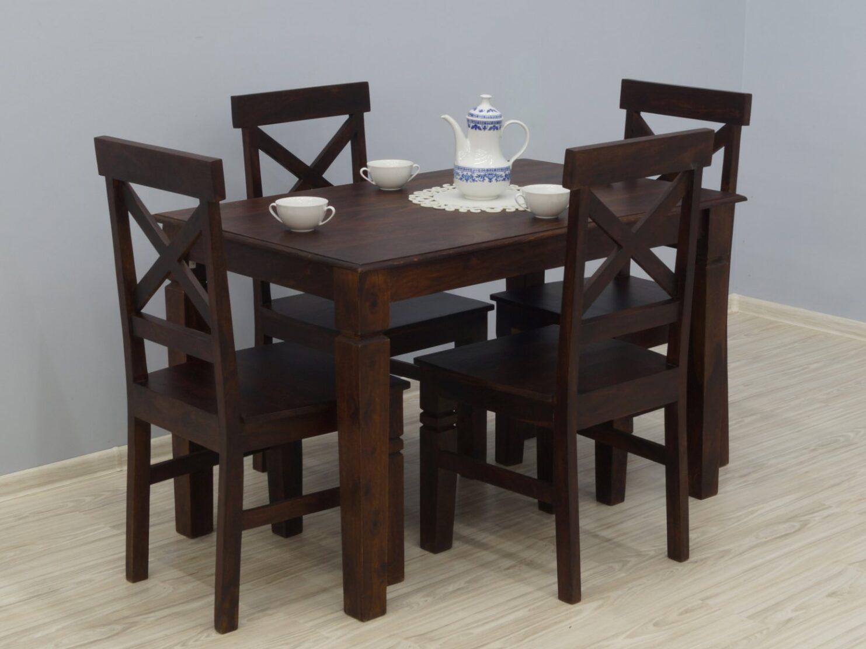 Komplet obiadowy kolonialny stół + 4 krzesła lite drewno palisander indyjski