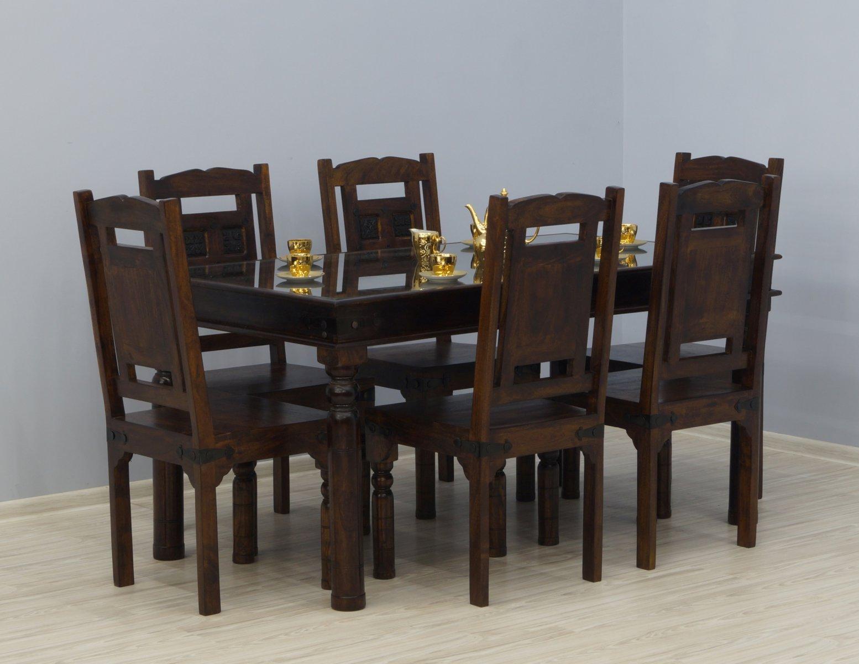 Komplet obiadowy kolonialny stół + 6 krzeseł lite drewno akacja indyjska rzeźbione