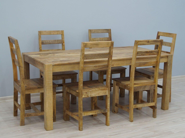 Komplet obiadowy kolonialny stół + 6 krzeseł lite drewno mango styl Loft