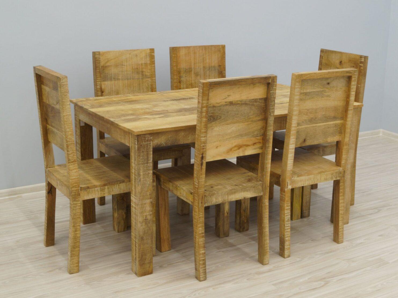 Komplet obiadowy kolonialny stół + 6 krzeseł lite drewno mango styl industrialny Loft