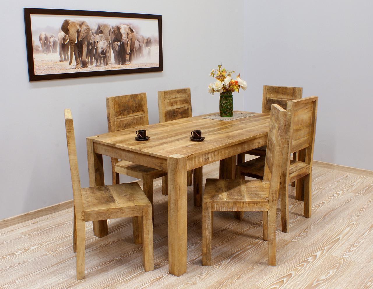 Komplet obiadowy kolonialny stół + 6 krzeseł lite drewno mango styl Loft pełne oparcia