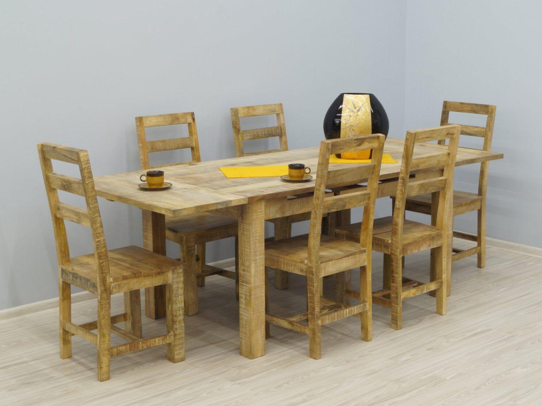 Komplet obiadowy kolonialny stół + 6 krzeseł lite drewno mango styl nowoczesny