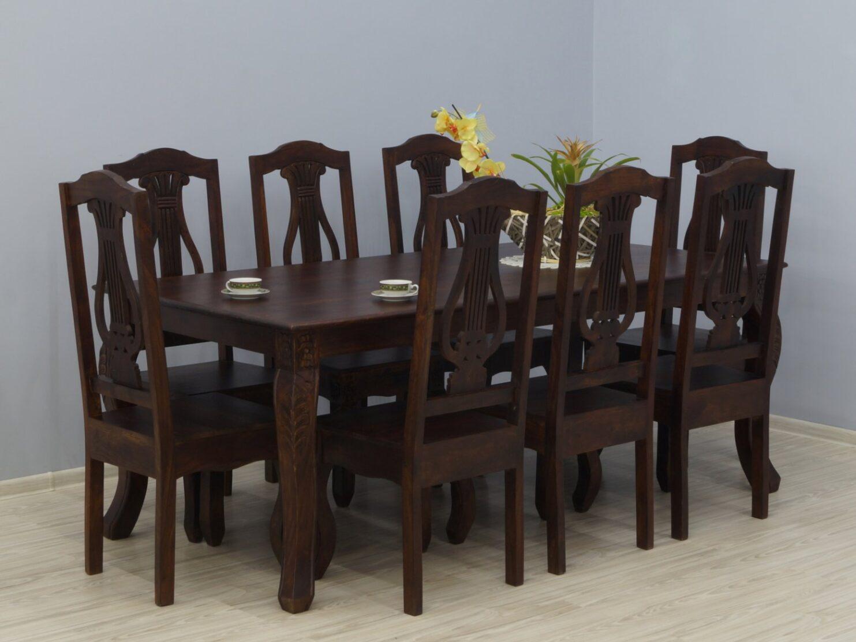 Komplet obiadowy kolonialny stół + 8 krzeseł lite drewno palisander indyjski