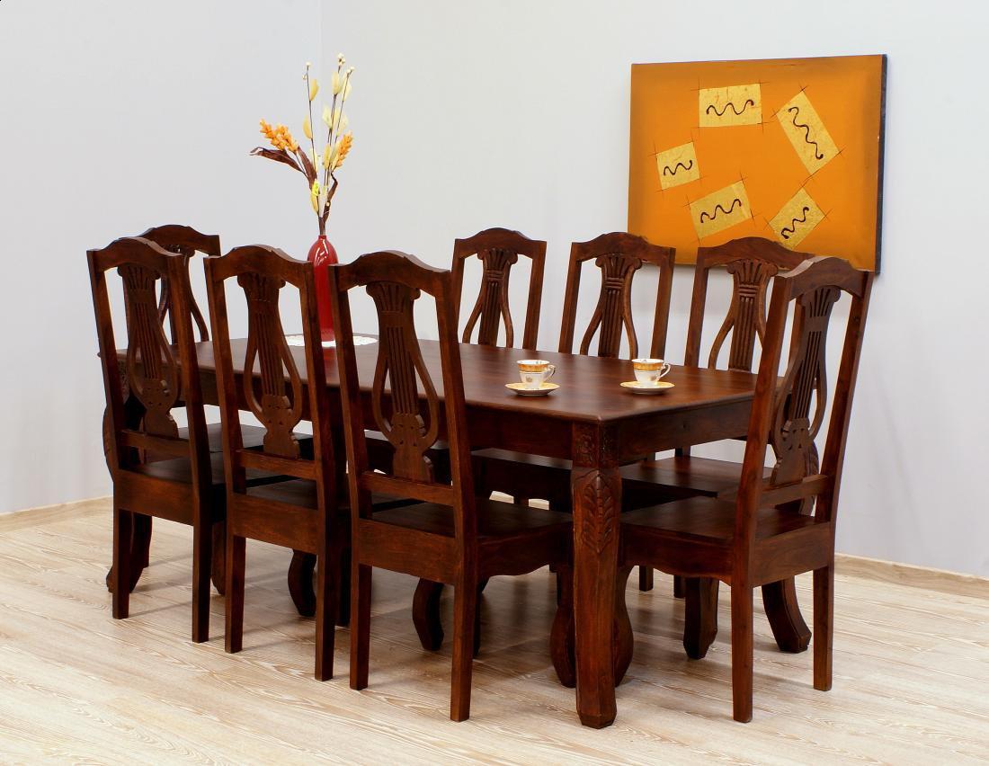 Komplet obiadowy kolonialny stół + 8 krzeseł lite drewno palisander indyjski ciemny brąz
