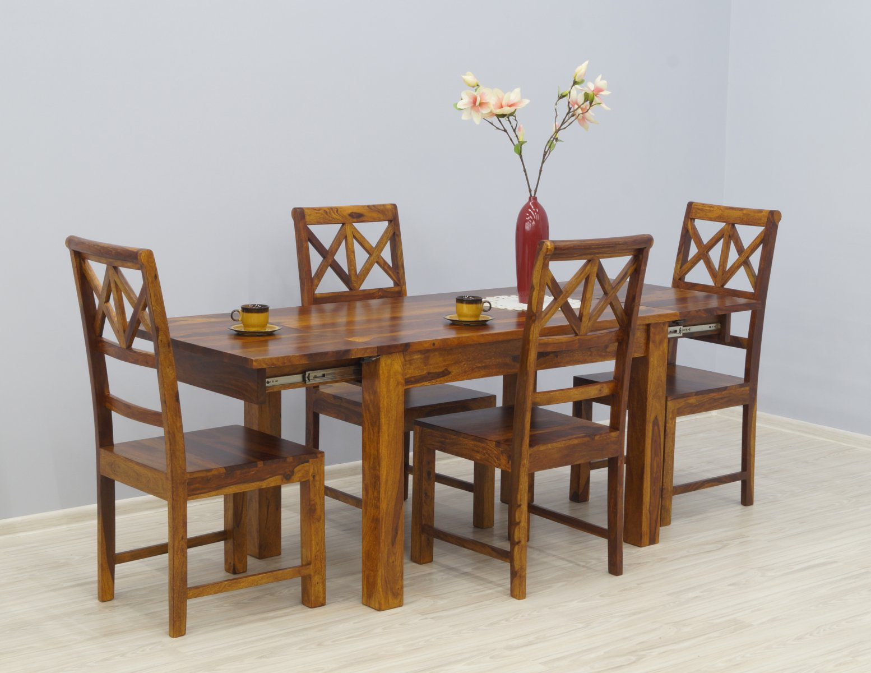 Komplet obiadowy kolonialny stół rozkładany + 4 krzesła ażurowe oparcia lite drewno palisander ciepły brąz