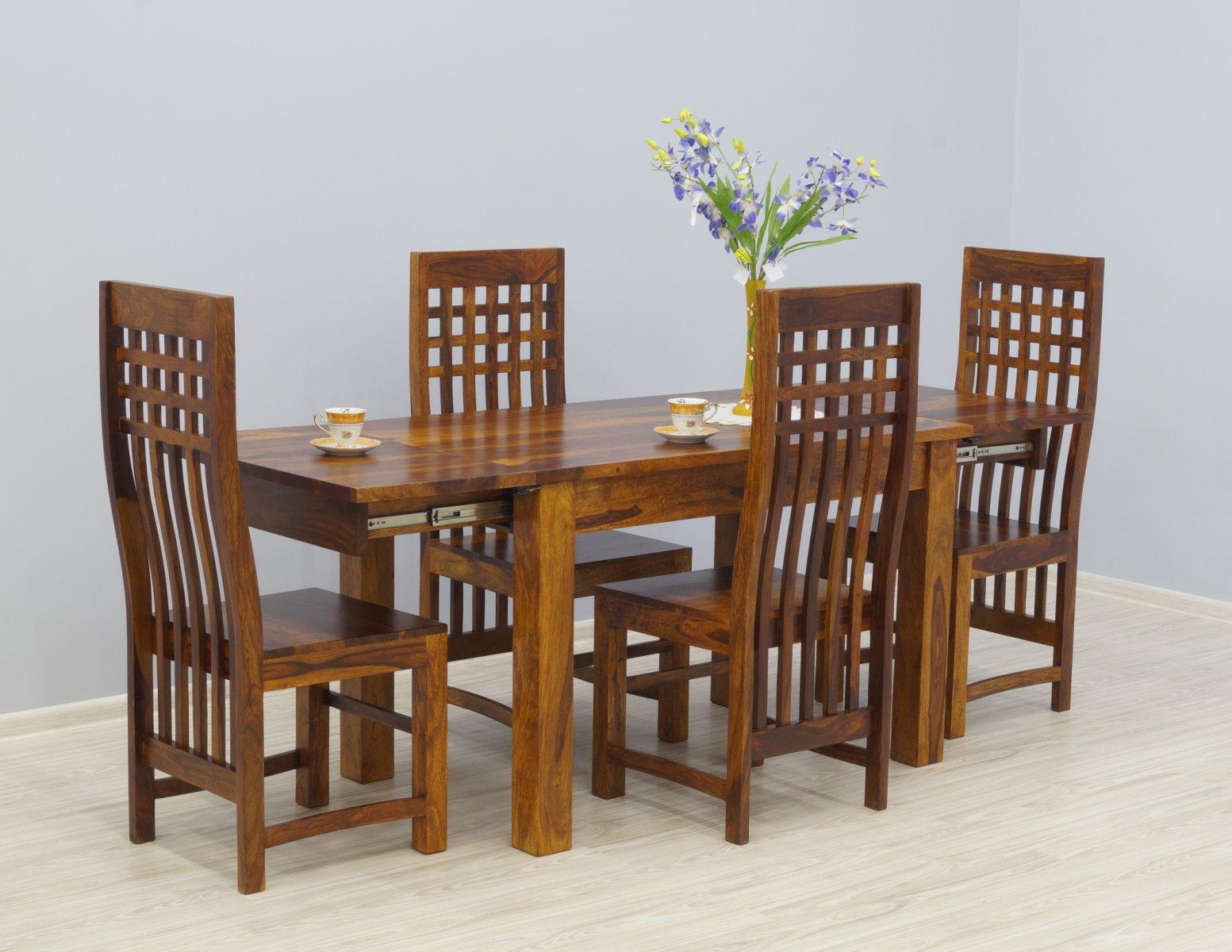 Komplet obiadowy kolonialny stół rozkładany + 4 krzesła ażurowe oparcia lite drewno palisander miodowy brąz