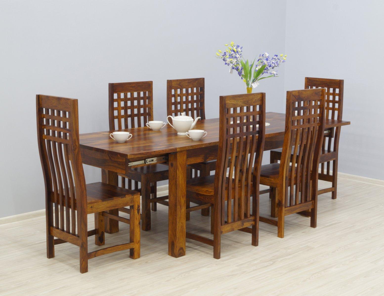 Komplet obiadowy kolonialny stół rozkładany + 6 krzeseł ażurowe oparcia lite drewno palisander miodowy brąz