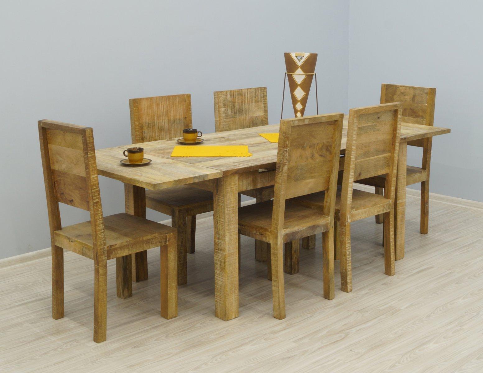 Komplet obiadowy kolonialny stół rozkładany+ 6 krzeseł lite drewno mango styl industrialny