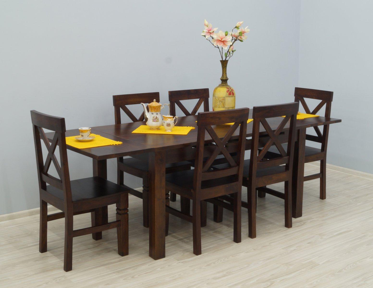 Komplet obiadowy kolonialny stół rozkładany + 6 krzeseł lite drewno palisander indyjski ażurowe oparcia