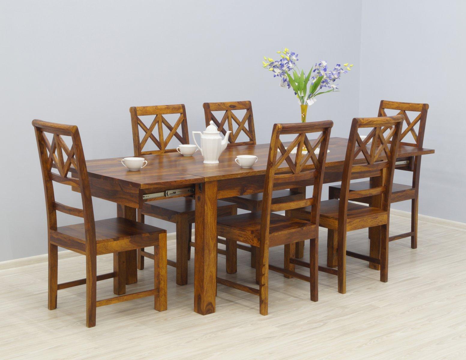 Komplet obiadowy kolonialny stół rozkładany + 6 krzeseł lite drewno palisander miodowy brąz